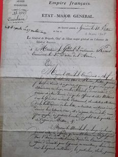 Letter signed by the General Werle head of General staff army of Hanover March 4, 1805 to marshal Rivaud