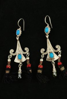 Silver earrings with turquoise and citrine quartz - Afghanistan, from the late 20th century