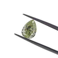 2.50 Ct. Natural Fancy Light Grayish yellowish Green Pear Shape Diamond, GIA Certified