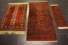 Three hand-knotted Persian carpets, Pakistan Bukhara set, 75 x 155 cm, 80 x 115 cm, 30 x 90 cm, made in Pakistan, rug, oriental