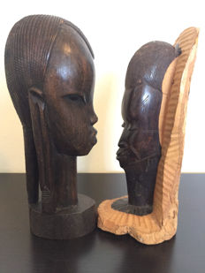 Two wooden heads - wood carving - Africa - Tanzania - second half of the 20th century