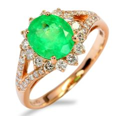 1.47ct Excellent Luster Neon Green Emerald 18K Pink Rose Gold 2.72gram Diamond Ring Size 52 (No Reserve)