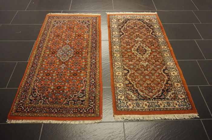 Two beautiful oriental carpets, Qom pattern, made in India, 70 x 140 cm and 73 x 140 cm