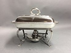 Silver plated double serving tray, on a matching brazier, Davenport and Bray, Birmingham, England, ca. 1905