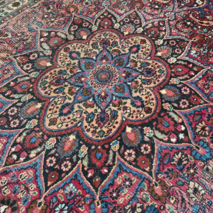 Wonderful, antique, Mashad Persian rug - 328 x 212 - unique design - vintage look