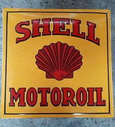 SHELL MOTOROIL motor oil petrol gasoline enamel advertising sign - USA - early 21st century.