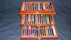 Beautiful collection of 50 different pens with silver and gold plated Iridium Nibs in a luxury case with 3 drawers