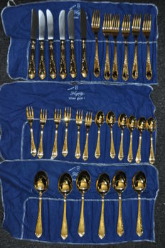 30 piece gold plated cutlery 3 plus Solingen 18/10