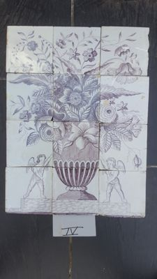 Tile tableau of a flower vase - Manganese