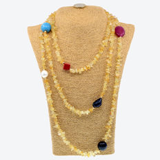 18k/750 yellow gold - Long necklace with citrines and assorted gemstones - Length: 176 cm