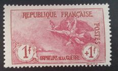 France 1917-1918 – 1st Orphan series, 1 f. + 1 f. carmine, signed by Calves with digital certificate – Yvert No. 154