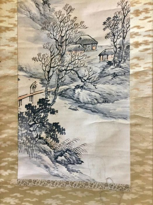 A hand painted scroll painting - China - second half 20th century