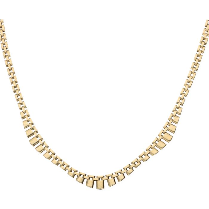 14 kt – Yellow gold Rolex link necklace, fitted with a bolt clasp with a figure-eight safety catch – Length: 44.9 cm