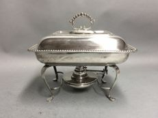 Silver plated double serving tray, on a matching brazier, Davenport and Bray, Birmingham, England, ca. 1905.