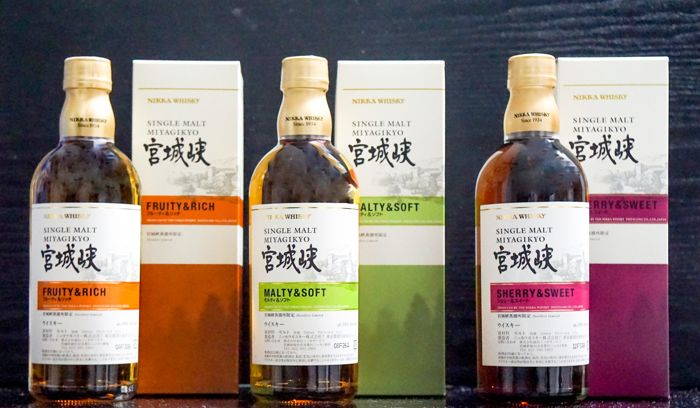 3 Bottles of Nikka Miyagikyo: Fruity & Rich, Malty & Soft, Sherry & Sweet