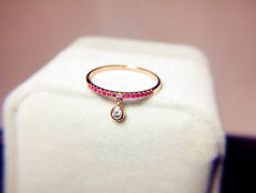 18K Pink Gold - Tiny Ruby 14 rubies 2 diamonds ring - 53.5 (EU)
