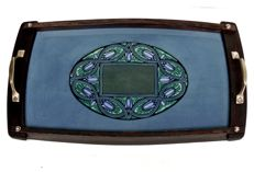 Wächtersbach, Christian Neureuther art department - ceramic tray with a wooden frame and brass handles