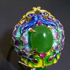 Great handwork,Enamel, 24 k gold-plated sterling nephrite  silver ring ,Weight : approx :8 g