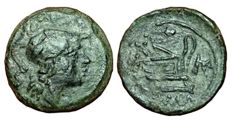 Roman Republic - Anonymous, Corn-ear and KA series - Æ Triens (23mm; 11,24g.) - Sicily mint, struck c. 211-208 BC - Minerva / Prow of galley - Crawford 69/4 b