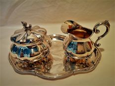 Silver cream set, Karl Christian Kern, Germany, Schwäbisch Gmünd, 2nd half 20th century