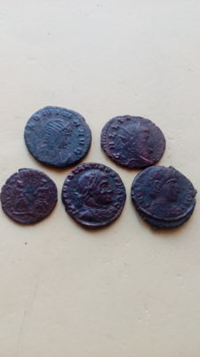 Roman Empire – Lot of 5 AE coins – Gallenius and Salonina 253-268 and Constantine II 317-340