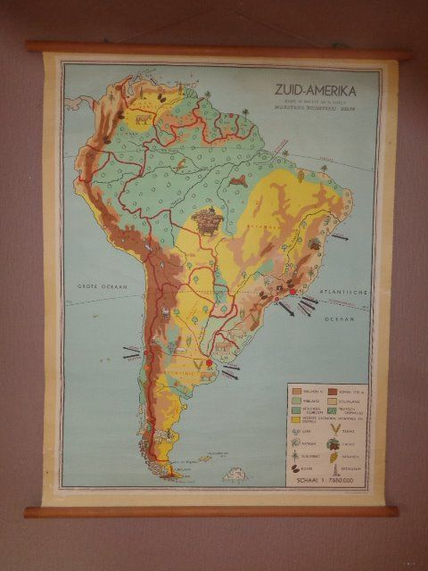 """Two school maps / school posters """"South America"""" and """"North America"""", Bakker and Rusch"""