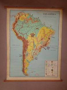 "Two school maps / school posters ""South America"" and ""North America"", Bakker and Rusch"