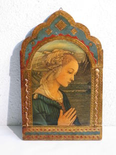 Ancient votive icon on wood - Italy - 19th century