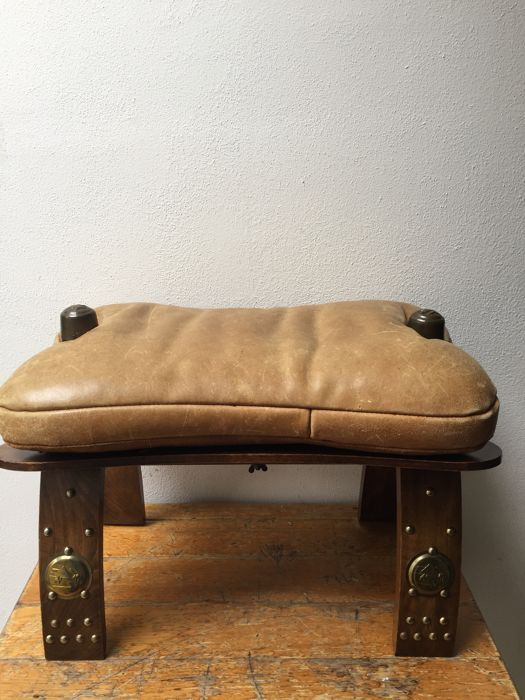 Camel saddle - bench / stool with leather seat, second half 20th ...