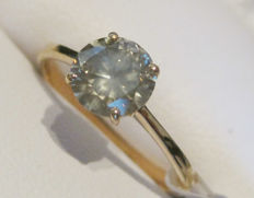 14K Yellow Gold Solitaire Diamond ring 1 ct I1, 16.5 mm (Easily resized)