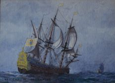 Alexandre BRUN (1854-1941 France) Fine Watercolour of a 17th Century 60 Canons Warship at Sea