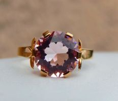 18kt pink gold ring with pink morganite – size 53