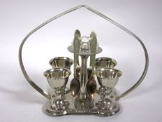 Elegant, silver plated egg cup set for 4 people