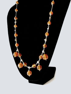Long vintage necklace with Baltic amber beads, 38.4 grams,  Baltic region