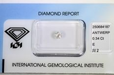 0.34 ct – Brilliant cut diamond – E, SI2
