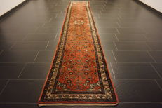 Old high-quality Persian carpet, Hamadan, runner, made in Iran, 85 x 421 cm