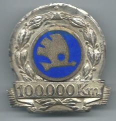 Skoda 100.000 Kilometres Car Plaquette Badge
