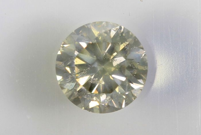 "Diamant - 0.40 ct - Light Greenish Yellow - "" Champagne "" - Zonder Reserve Prijs"