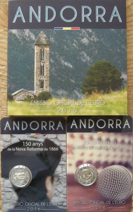 """Andorra – Year pack 2016 with 1 cent through 2 Euro + 2 Euro coin 2016 """"Radio and TV"""" and 2 Euro coin 2016 """"Reforms"""""""