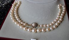 Antique Akoya necklace in excellent condition with sea/salty pearls from Japanese sea going from 6.0mm to 9.6mm and a 14Kt golden clasp with 10 natural Wesselton diamonds [H/VS1]