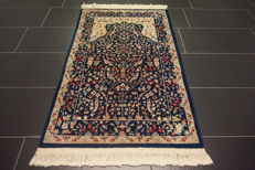 Beautiful semi-antique vintage hand-knotted Persian oriental carpet, Kerman Lavar, 80 x 125 cm, made in Iran
