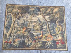 Beautiful old tapestry, landscapes with birds, jacquard weaving, 150 x 200 cm, ca. middle of the 20th century