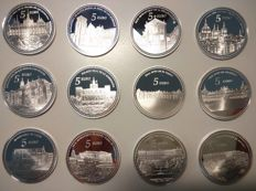SPAIN – Lot 12 x 5 Euro I and II National Heritage Series – 2013/14 – Silver