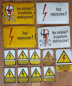 13 Enamel electricity warning sings - from Poland ca 60's