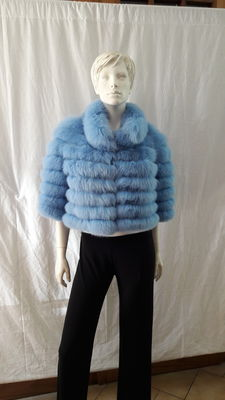Light blue fox fur jacket