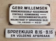 Enamel signs SPREEKUUR and Gebr. Willemsen  - ca. 1940s/50s
