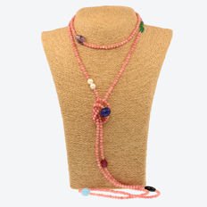 18k/750 yellow gold necklace with morganites and assorted gemstones - Length: 169 cm.