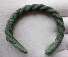 Early medieval Viking bronze twisted bracelet - 65 mm