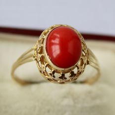 Vintage 585/14kt.gold ring, with natural red Coral in very nice frame approx. 9,2mmx6,6mm. Excellent state.