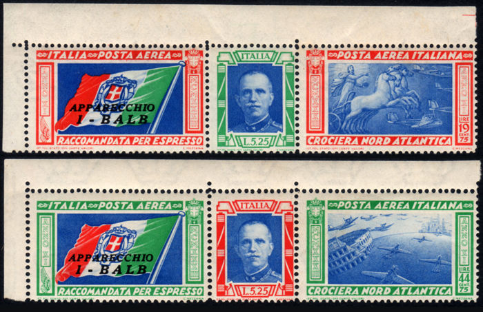 Kingdom of Italy 1933 – Balbo's North Atlantic Cruise – I-BALB Triptych (corner) – Sass.  No.  51A/52A